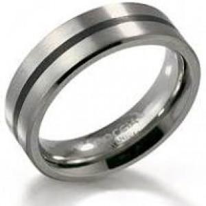Boccia titanium ring mat/poli model 0101-14 met zwart emaille - 212642