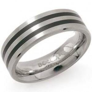 Boccia ring Titanium met zwarte geemailleerde lijnen; model 0101-17 - 206590