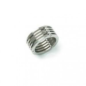 Boccia fantasie titanium ring model 0125-01, 5 schijven mat-poli - 209383