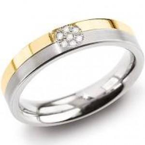 Boccia titanium bicolor ring geel poli en wit mat, model 0129-06 waarin 7 Diamantjes zijn gezet - 212645