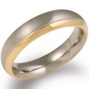 Boccia ring Titanium, deels verguld. Model 0130-08 - 212648