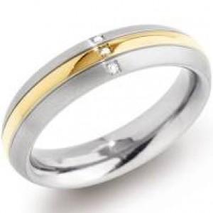 Boccia titanium ring, deels verguld met 3 diamanten met een gezamenlijk gewicht van 0,015 - 212647