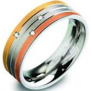 Boccia titanium ring tri-colour 3 x 0.015 crt. - 207362