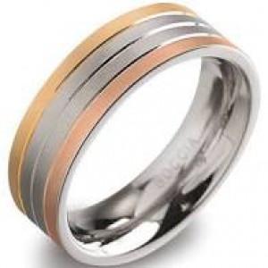 tri-colour titanium ring model 0135-03 verguld - 212646