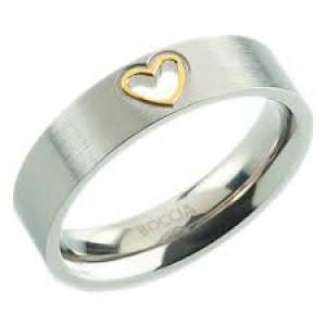 Boccia bicolor titanium ring voorzien van een open hartje - 209284