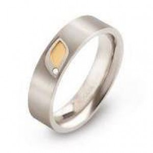 Boccia fantasie bicolor titanium ring met bladmotief en 0.005 crt. diamant - 208319