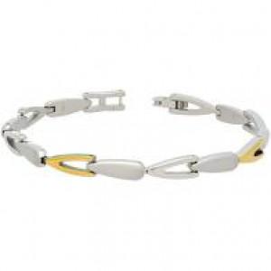 Boccia bicolor titanium fantasie schakelarmband, open en dichte schakels,21 cm, refnr : 03033-02 - 212537