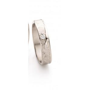 18 krt champagnekleurig gouden Ines Bouwen partnerring model 046_1, ca 4,5 mm brede handgemaakte ring verfraaid met een 0.045 ct briljant geslepen diamant - 212045