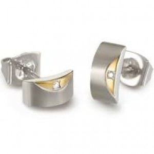 Boccia fantasie titanium bicolor oorstekers, beide voorzien van een 0.005 ct briljant geslepen diamant, refnr : 05007-03 - 212534