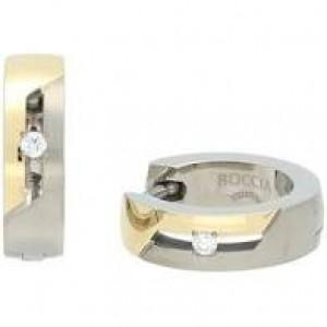 Boccia bicolor titanium klapcreolen, beide voorzien van een 0.01 ct briljant geslepen diamant; refnr : 05045-04 - 212531