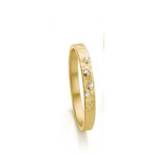 18 karaats geelgouden Ines Bouwen ring model 60_4 ca 2,5 mm breed en verfraaid met met 4 briljant geslepen diamanten in gladde zetkastjes, totaal gewicht diamant is 0,03 crt - 213162