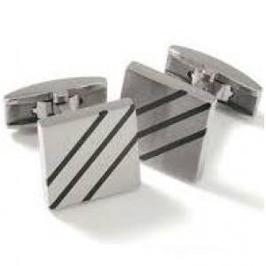 Boccia titanium manchetknopen met zwart emaille - 203182