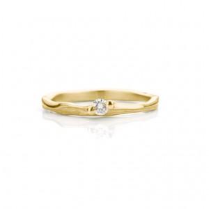 18 krt geelgouden Ines Bouwen ring handgesmeed, model 072, ca van 1,5 tot 2,5 mm breed en verfraaid met één briljant geslepen diamant 0,08 ct F/VS1 - 213268