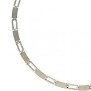 Boccia bicolour titanium fantasieschakel collier met open en dichte schakels, mat-poli, refnr : 08040-01 - 212539