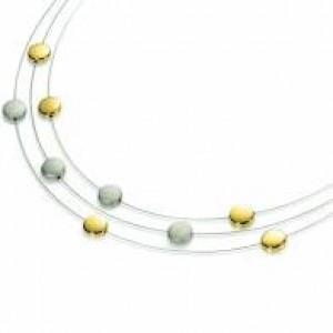 Boccia bicolour titanium fantasie 3- rijig collier met 8 dichte schijfjes her en der, refnr : 0852-02 - 203287