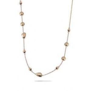 MONZARIO fantasie collier in roségoud, ovaaltjes en schijfjes ertussen ; 45 cm - 209253