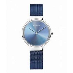 """Bering horloge """" Anniversary 1 """" met stalen kast, de milanaise band is blauw gecoat en een meerkleurige wijzerplaat - 212901"""
