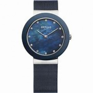 Bering horloge met ronde stalen kast en keramiek lunette, blauwe mesh band, blauwe wizerplaat + zirkonia index, refnr 11435-387 - 206367