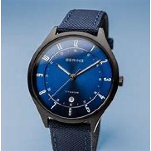 Bering titanium horloge ronde kast zwart gecoat met stoffen-lederen band, refnr 11739-827 - 212138