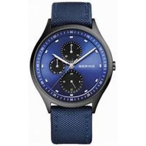 Bering titanium horloge ronde kast zwart gecoat, multihand wijzerplaat, met stoffen-lederen band, refnr 11741-827 - 212139
