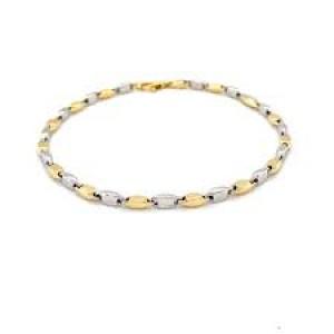 14 krt bicolor gouden Monzario fatasieschakel armband model, 18,5 cm,1182A - 211037
