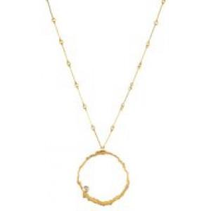 """14 krt geelgouden Lapponia halssieraad """" Moonlit Eve """" een cirkelvormige open hanger aan een collier, de hanger is voorzien van een 0.06 ct briljant - 209292"""