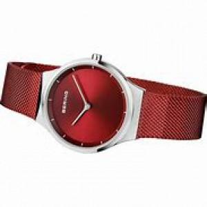 stalen Bering horloge , ronde kast en rode wijzerplaat, milanaise band rood gecoat, refnr 12131-303 - 212135