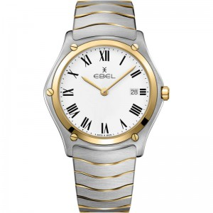 Ebel Sport Classic Gent 40 mm , band en kast is een combinatie van staal + 18 krt geelgoud ; wijzerplaat wit + romeinse index + vouwsluiting - 208189