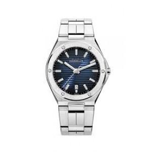 """stalen Michel Herbelin horloge """" Cap Camarat """" met stalen band, schroefjes in lunette, saffierglas en 100m WD , blauwe gestreepte wijzerplaat - 211178"""