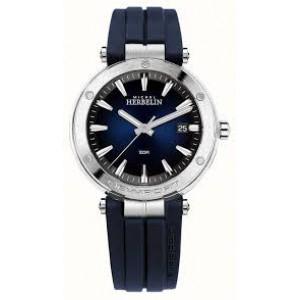 """Michel Herbelin horloge """" Newport Sport """" stalen kast, lederen band met nylon bovenzijde, saffier glas en 100m WD - 211095"""