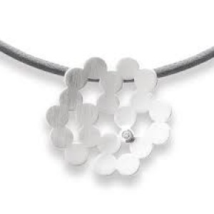 bastian Zilveren hanger , gematteerd, 0.02 crt.diamant, bloem - 208335