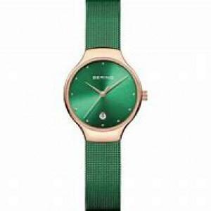 Bering dames horloge ronde kast rosé verguld met groene plaat, milanaise band is groen gecoat, refnr 13326-868 - 212137