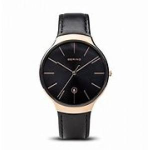 Bering horloge, ronde stalen kast rosé verguld met zwarte wijzerplaat en rose indexen, voorzien van zwart lederen band, 13338-462 - 212784
