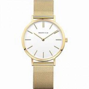 Bering dames horloge waarvan kast en milanaise band geel verguld zijn, lichte wijzerplaat en saffierglas - 211145