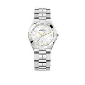 """Michel Herbelin horloge """" Cap Camarat Gold/steel """" zwitsers uurwerk; stalen kast + band, gouden lunetteschroeven, saffierglas + briljant - 211105"""