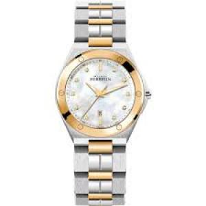 """Michel Herbelin horloge """" Cap Camarat  """" zwitsers uurwerk; bicolor rosé stalen kast en band,  saffierglas + parelmoer + zirconia - 211106"""