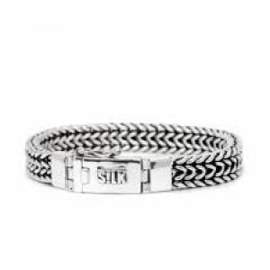 Silk armband, geoxydeerd zilver met karabijnhaak - 209346