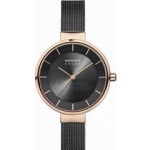 Bering dames Solar horloge, zwart gecoat milanaise band en ronde kast rosé verguldrose - 212123