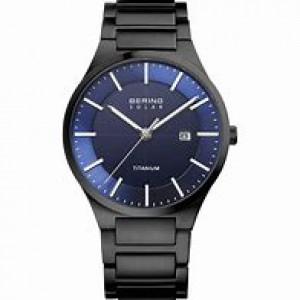 Titanium Bering Solar herenpolshorloge,  modelnr 15239-727 voorzien van een titanium horlogeband, blauwe wijzerplaat, datum en saffierglas - 211155