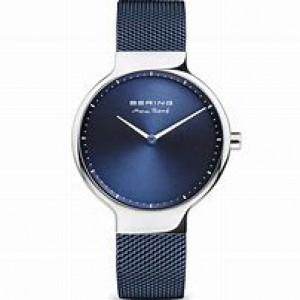 """stalen Bering horloge """" by Max René """" milanaise band is blauw gecoat, blauwe wijzerplaat,  saffierglas - 211160"""
