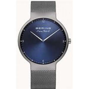 """Bering horloge """" design by Max Rene """" met edelstalen kast en stalen milanaise band zijn donkergrijs en geborsteld refnr : 15540-077 - 211163"""