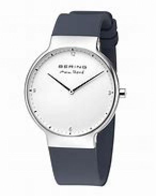 """Bering horloge """" design by Max Rene """" stalen kast en grijze siliconen band, witte wijzerplaat en voorzien van een saffierglas - 211166"""