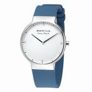 """Bering horloge """" design by Max Rene """" stalen kast en blauwe siliconen band, witte wijzerplaat en voorzien van een saffierglas - 211167"""