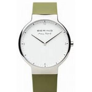 """Bering horloge """" design by Max Rene """" stalen kast en groene siliconen band, witte wijzerplaat en voorzien van een saffierglas - 211168"""