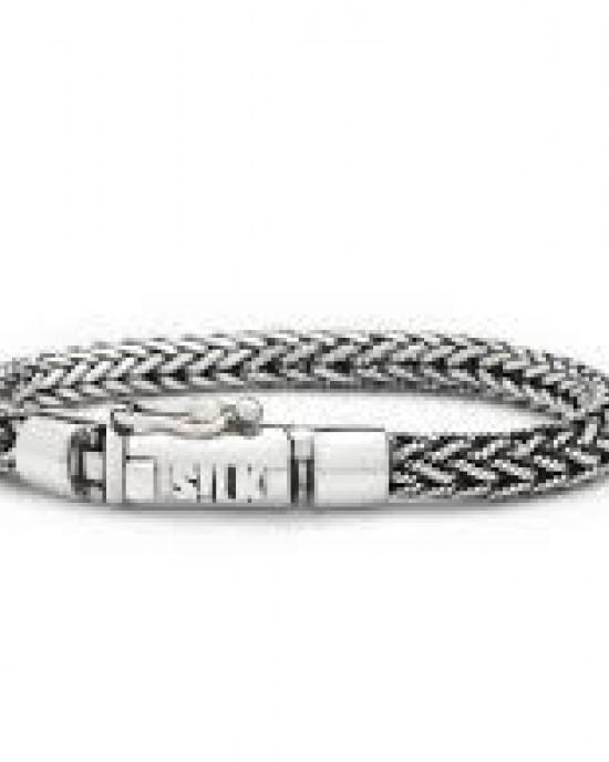 silk armband, geoxydeerd zilver met insteekveer en veiligheidsachtje - 209460