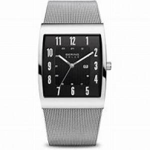 stalen Bering horloge 4-kanten kast, stalen milaniase band, zwarte wijzerplaat met arabische cijfers en voorzien van een saffierglas - 211171