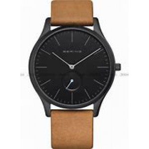 Bering horloge stalen kast welke donker is gecoat, blauwe secondewijzer en bruin lederen band - 212639