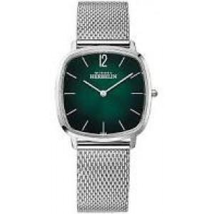Michel Herbelin stalen horloge met kussenvormige kastvorm, saffierglas,  donkergroene wijzerplaat en stalen milanaise band - 212522