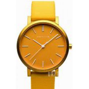 """Bering horloge """" True Aurora Yellow 34 mm """" ronde kast in kleur gecoat en voorzien van een gekleurde rubberen band - 211203"""