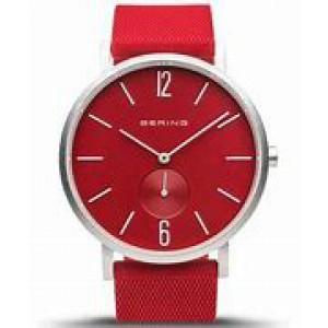 """Bering horloge """" True Aurora Red 40 mm """" ronde kast in kleur gecoat en voorzien van een gekleurde rubberen band - 212294"""